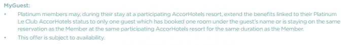 Le Club Accorhotels MyResorts Benefits MyGuest T&Cs