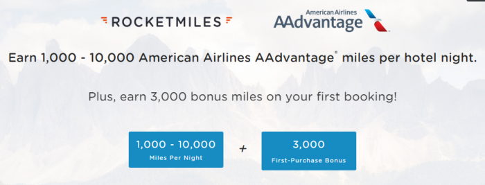 Rocketmiles American Airlines 3,000 Bonus Miles First Purchase Bonus December 31 2015