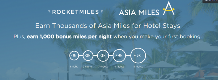 Rocketmiles AsiaMiles Up To 5,000 Bonus Miles First Booking September 15 - October 31 2015