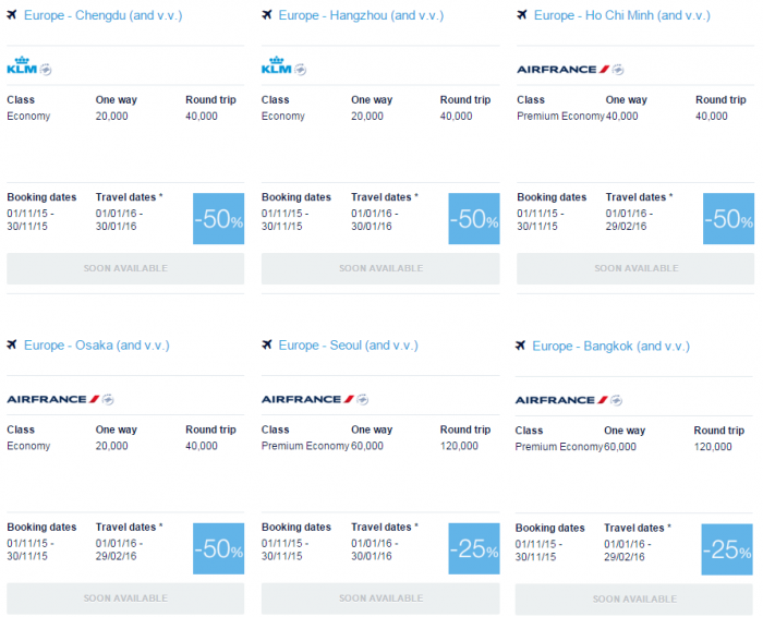Air France-KLM Flying Blue Promo Awards November 2015 Asia-Pacific 1