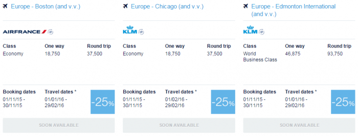 Air France-KLM Flying Blue Promo Awards November 2015 North America 1