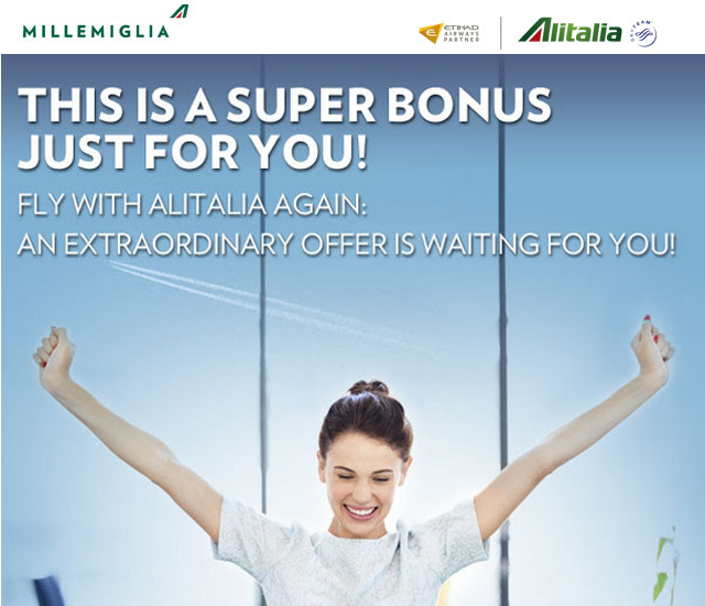 Alitalia MilleMiglia Up To 25,000 Bonus Miles