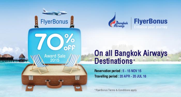 Bangkok Airways FlyerBonus 70 Percent Award Sale