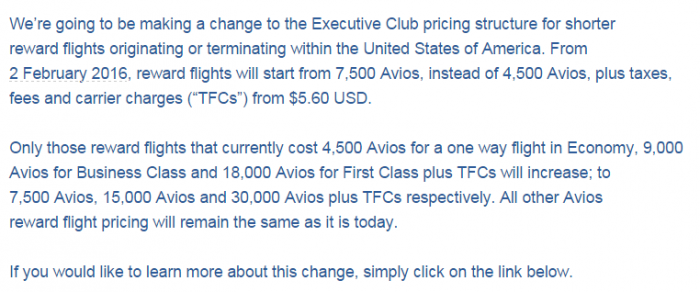 British Airways Executive Club Award Price Change North America Text