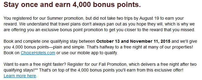 Choice Privileges Targeted Promo October 2015 Text