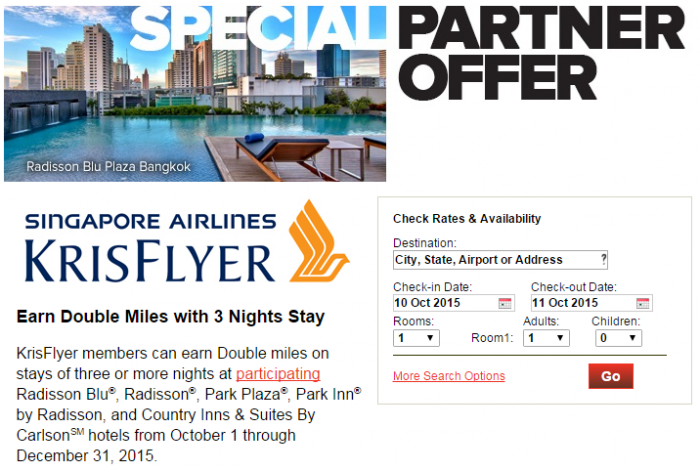Club Carlson Singapore Airlines KrisFlyer Double Miles October 1 December 31 2015