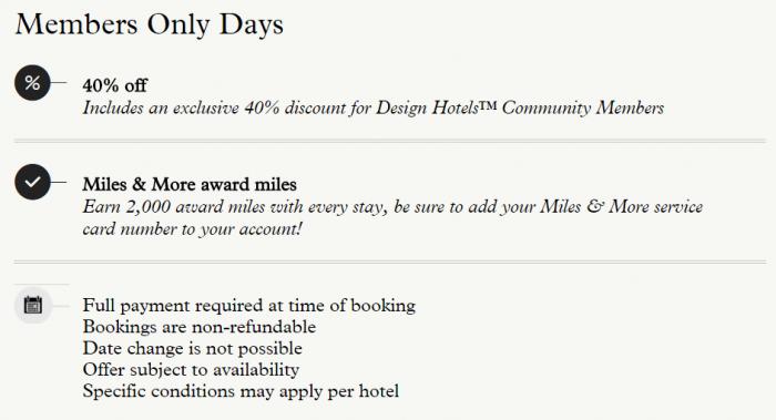 Design Hotels 40 Percent Off Sale Terms