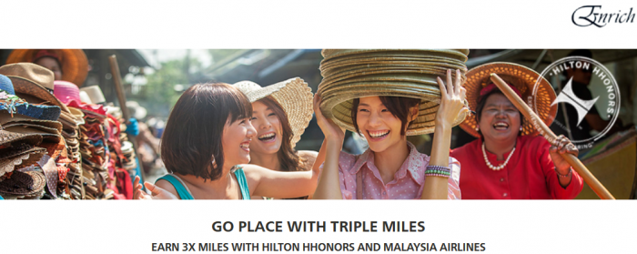 Hilton HHonors Malaysia Airlines Triple Enrich Miles November 1 - January 31 2016