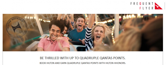 Hilton HHonors Qantas Frequent Flier Quadruple Points September 1 - December 31 2015