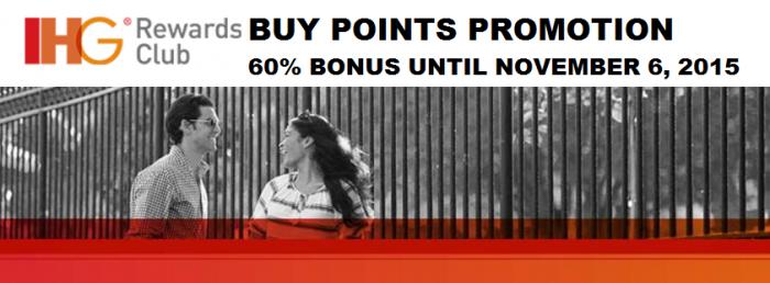 IHG Rewards Club Buy Points 60 Percent Bonus October 2015