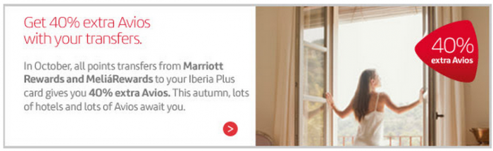 Iberia Plus Marriott Rewards 40 Percent Conversion Bonus October 1 - 31 2015