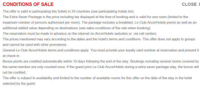 Le Club AccorHotels Ibis Extra Saver Package Terms