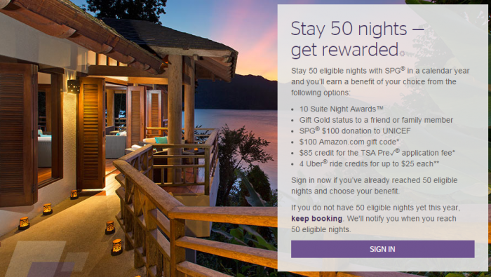 SPG 50 Night Benefits Rant Selection