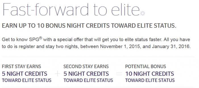 SPG New Member Exclusive 6 Elite Nights