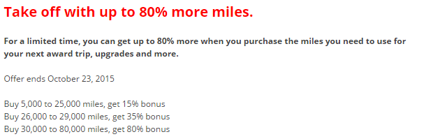 United Airlines MileagePlus Buy Miles October 2015 Campaign