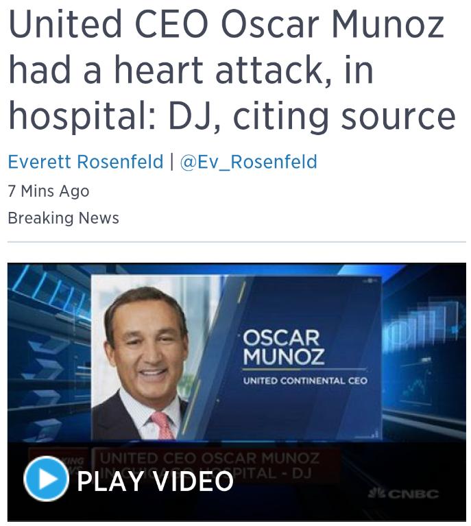 United CEO Heart Attack