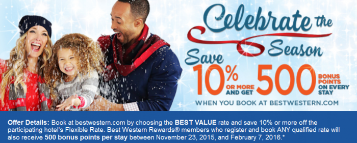 Best Western Rewards 500 Bonus Points Per Stay November 23 February 7 2016
