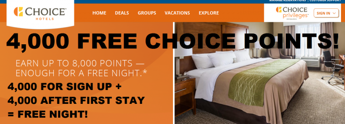 Choice Hotels Choice Privileges 4000 Sign Up Bonus