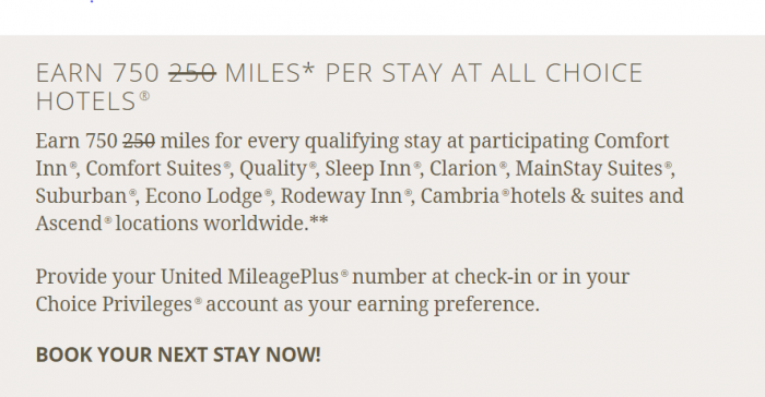 Choice Privileges United Airlines Triple Miles Offer October 1 - December 31 2015