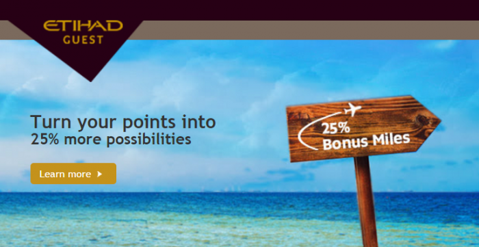 Etihad Airways 25 Percent Partner Points To Airline Miles Conversion Bonus November 14 - December 31 2015