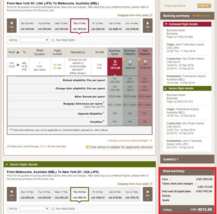 Etihad Airways Cyber Week Discount JFK-MEL C