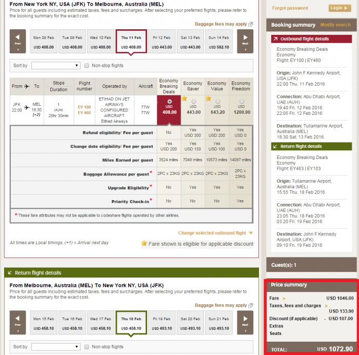 Etihad Airways Cyber Week Discount JFK-MEL Y