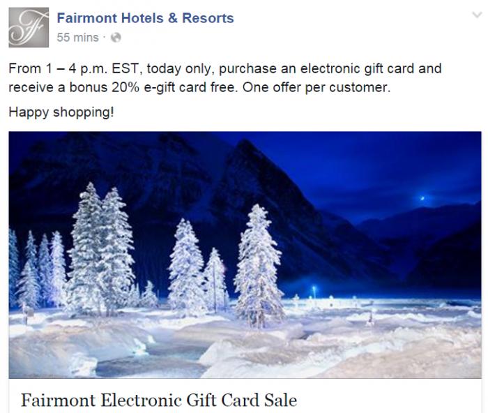Fairmont Gift Card Sale