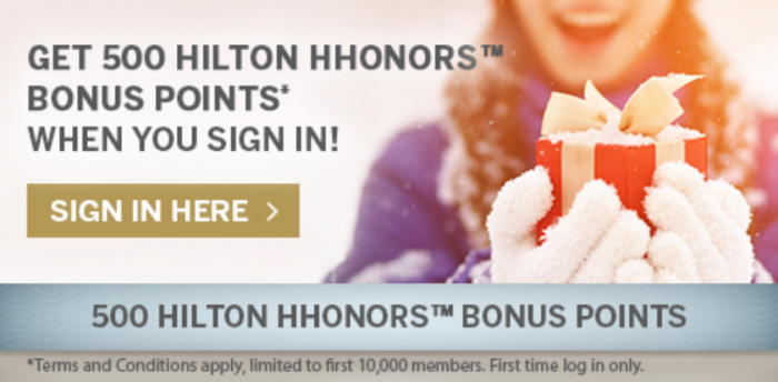 Hilton HHonors 500 Free Points Shopping Signing In