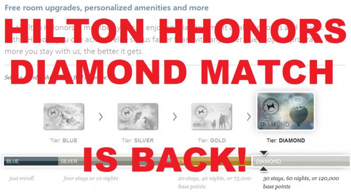 Hilton HHonors Diamond Status Match U