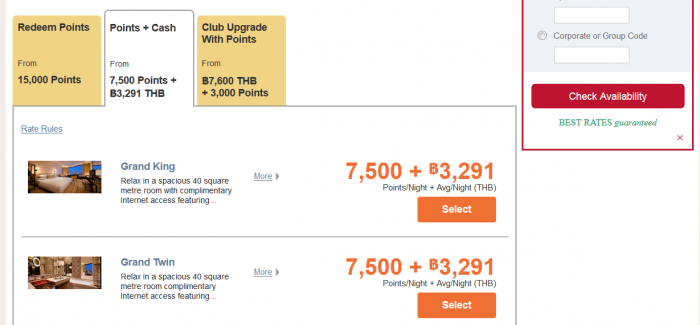 Hyatt Gold Passport Points + Cash Now Available Online GH BKK Points + Cash