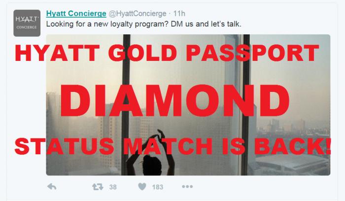 Hyatt Gold Passport Status Match Update