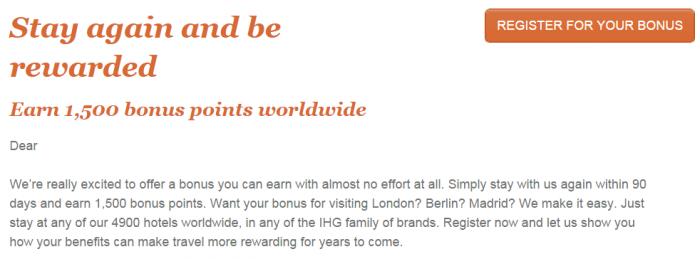 IHG Rewards Club 1,500 Bonus Points For A Stay In 90 Days Text