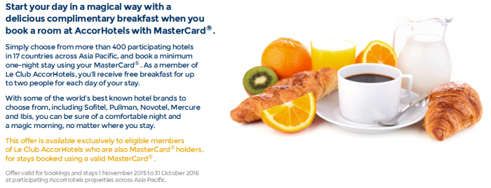 Le Club AccorHotels MasterCard Asia-Pacific Free Breakfast Promo Text
