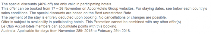 Le Club AccorHotels November 2015 Private Sales Australia Terms