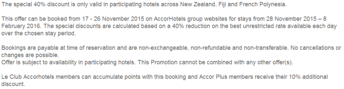 Le Club AccorHotels November 2015 Private Sales New Zealand Fiji French Polynesia Terms