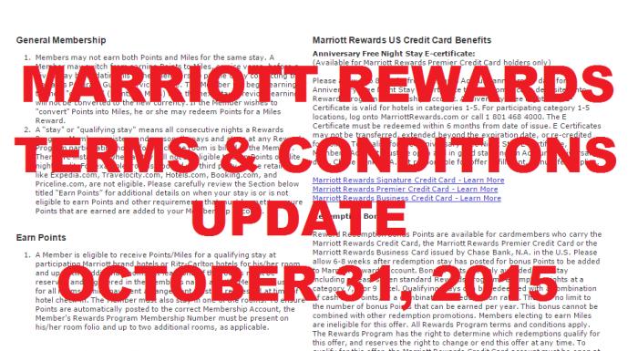 Marriott Rewards Terms & Conditions Update October 31 2015 U