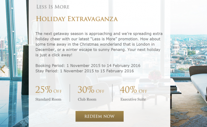 Shangri-La Golden Circle Less Is More Holiday Extravaganza Discount Table