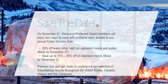 Starwood Cyber Monday Sale November 21 - December 2 2015