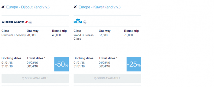 Air France-KLM Flying Blue Promo Awards January 2016 Middle East 2