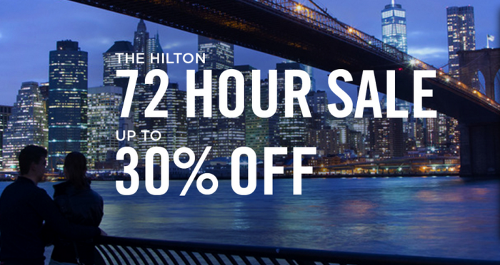 Hilton HHonors 72 Hour Up TO 30 Percent Off Americas Sale