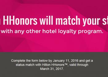 Hilton HHonors Diamond Status Match Web Page