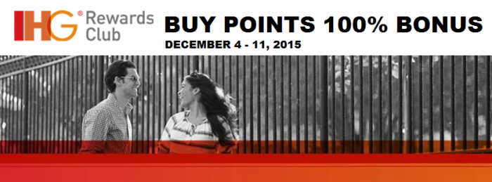 IHG Rewards Club Buy Gift Points 100 Percent Bonus December 4 - 11 2015