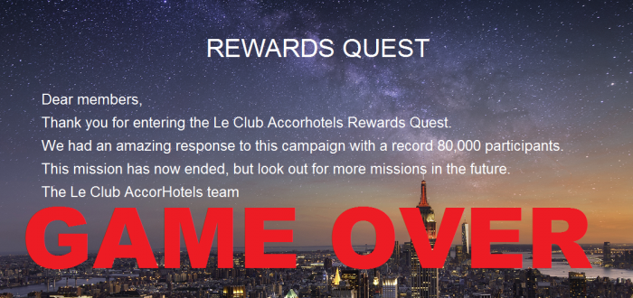 Le Club AccorHotels Rewards Quest Game Over