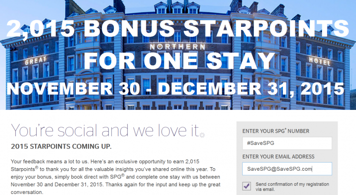 SPG 2015 Bonus Starpoints For One Stay November 30 - December 31 2015