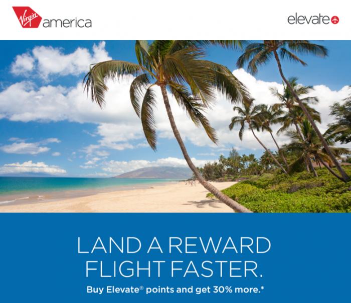 Virgin America Buy Elevate Points 30 Percent Bonus December 23 2015 U