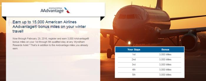 Wyndham Rewards American Airlines 3,000 Bonus Miles Per Stay December 1 - February 29 2016