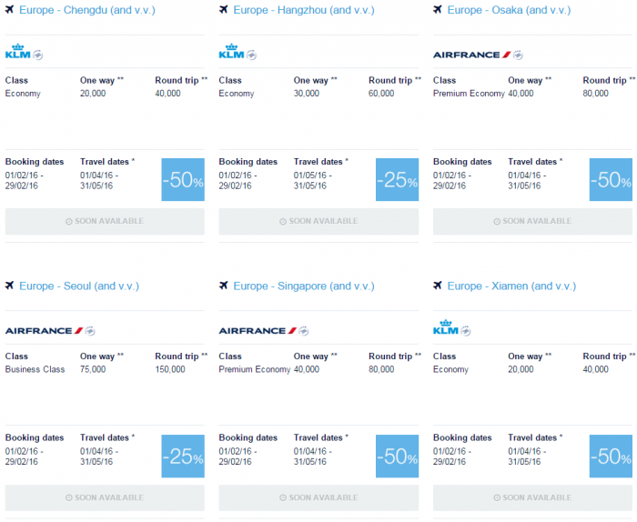 Air France-KLM Flying Blue Promo Awards February 2016 For Travel April & May Asia-Pacific 1