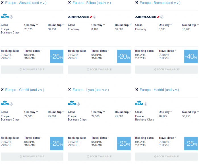 Air France-KLM Flying Blue Promo Awards February 2016 For Travel April & May Europe 1