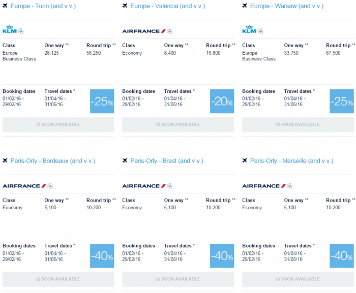 Air France-KLM Flying Blue Promo Awards February 2016 For Travel April & May Europe 2