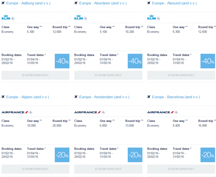 Air France-KLM Flying Blue Promo Awards February 2016 For Travel April & May Europe Specials 1